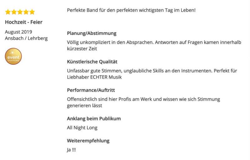 Hochzeit Band Ansbach Lehrberg Bewertung